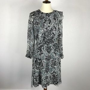 Band of Outsiders Floral Ruffle Lined Dress D100